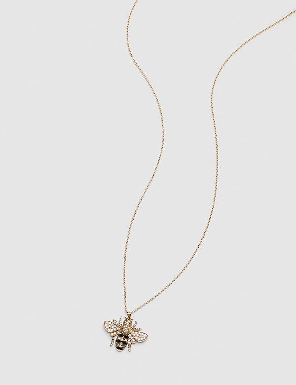 Pave-Embellished Bee Pendant Necklace