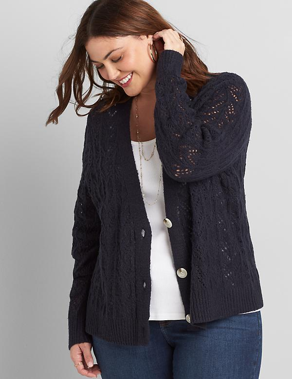 Button-Front Pointelle-Stitch Cardigan
