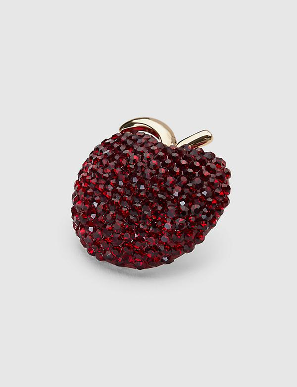 Pave-Embellished Apple Pin