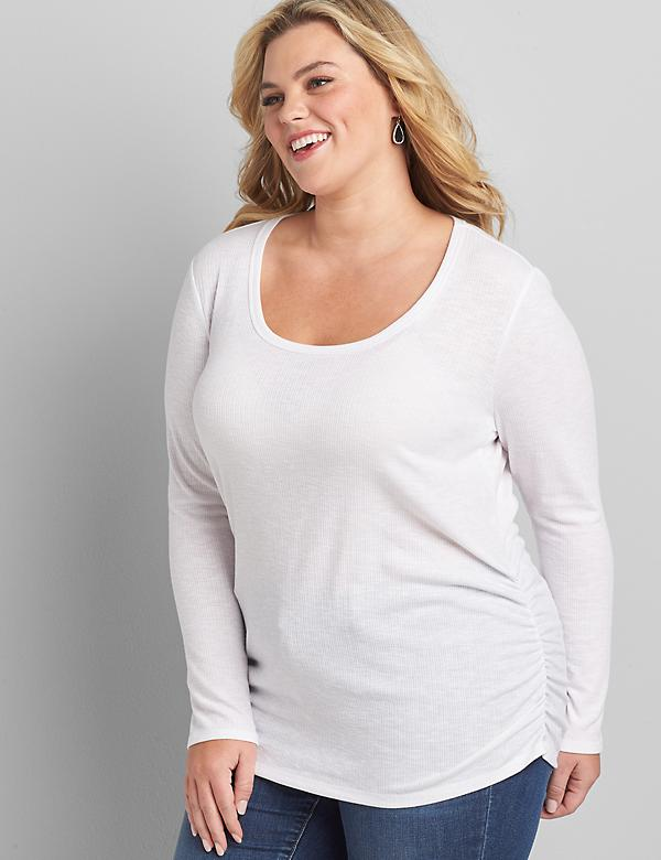 Long-Sleeve Ribbed Ruched Side Tee
