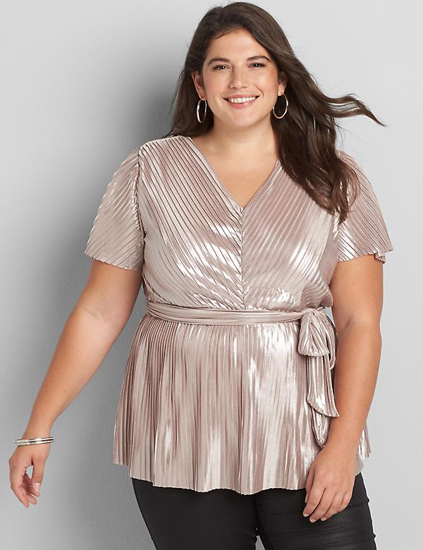 Flutter-Sleeve Metallic Pleated Peplum Top