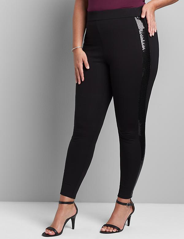Pull-On High-Rise Ponte Legging With Sequin-Embellished Side