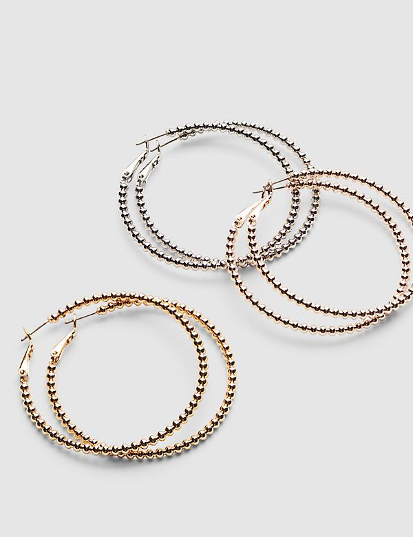 Beaded-Effect Hoop Earrings - 3-Pack