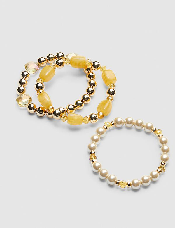 3-Row Resin & Pearlescent Stretch Bracelet Set