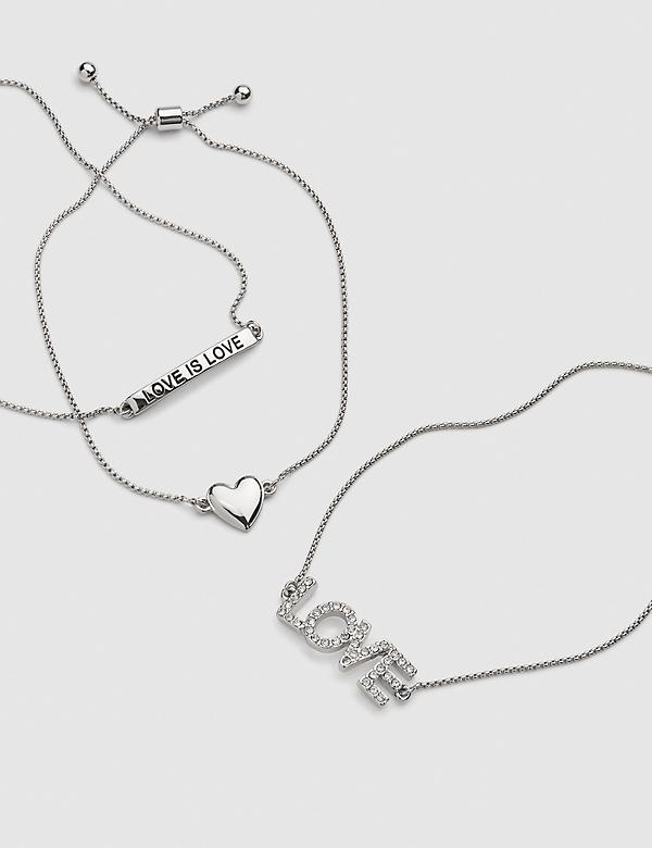 3-Row Heart & Love Adjustable Bracelet Set