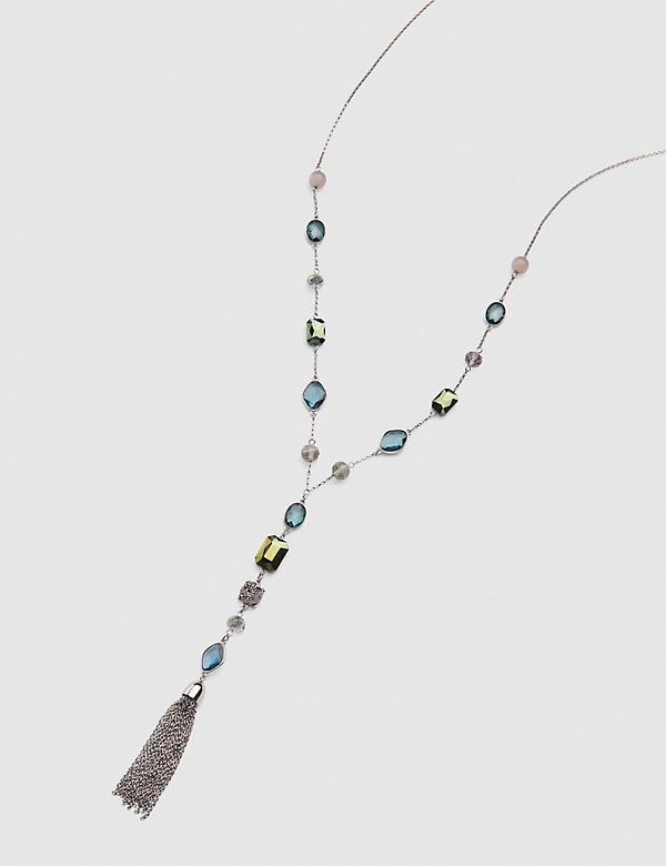 Faceted Stone & Tassle Y-Necklace