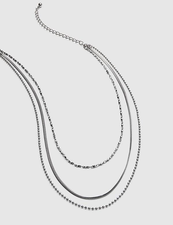 3-in-1 Multi-Layered Thin Chain Necklace - Silvertone
