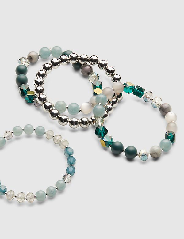 4-Row Beaded Stretch Bracelet Set
