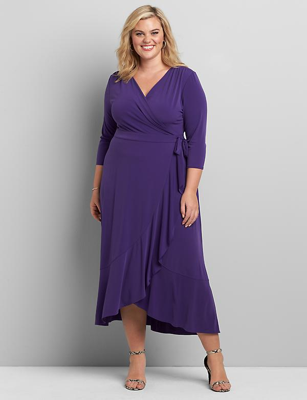 3/4 Sleeve Matte Jersey Wrap Dress