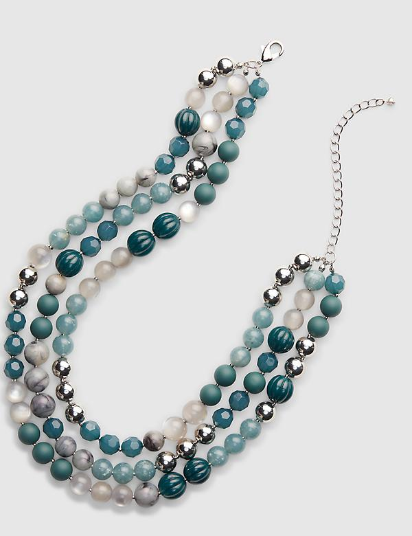 Multi-Layer Beaded Necklace - Blue