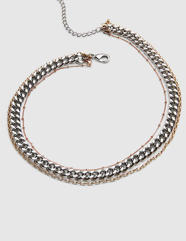 3-in-1 Multi-Layered Chain Necklace - Tri-Tone