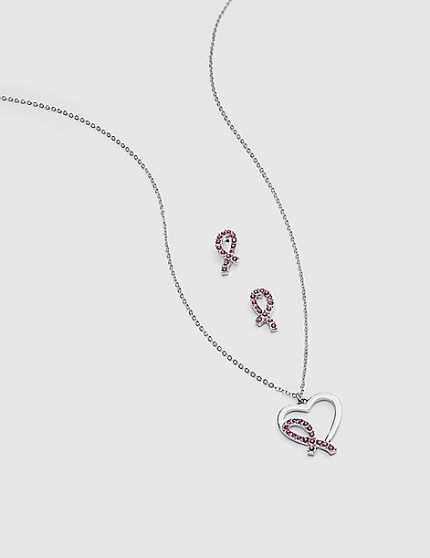 Heart Ribbon Necklace & Earring Set