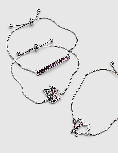3-Row Butterfly Adjustable Bracelet Set