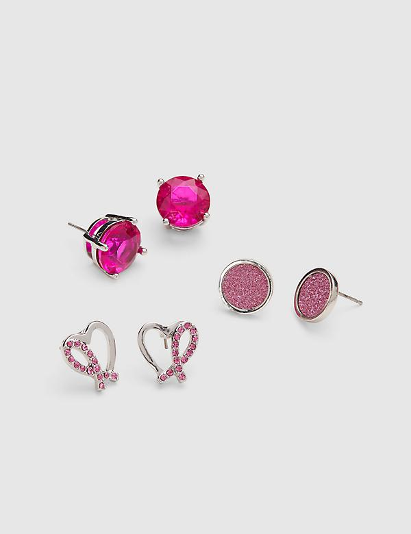 Stud Earrings 3-Pack - Pave Heart & Faux Druzy