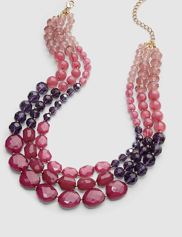 Multi-Layer Ombre Beaded Necklace - Plum