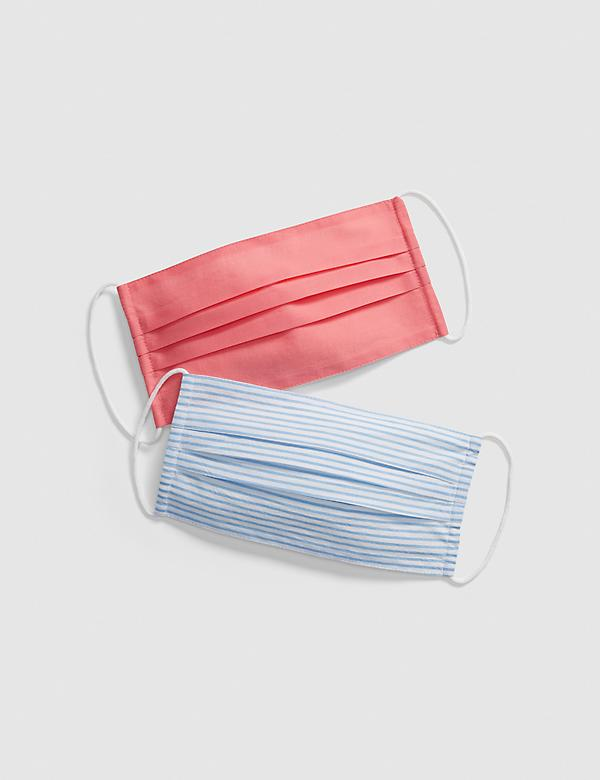 General Purpose Face Masks 2-Pack - Blue Stripe & Coral