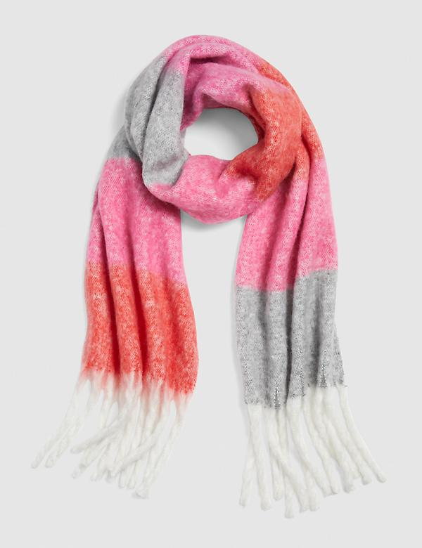 Colorblock Striped Brushed Scarf