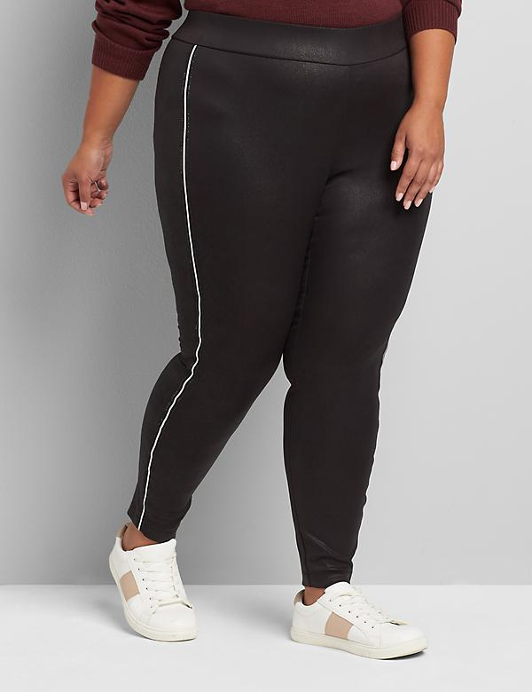 Pull-On High-Rise Coated Legging With Rhinestone Side Trim