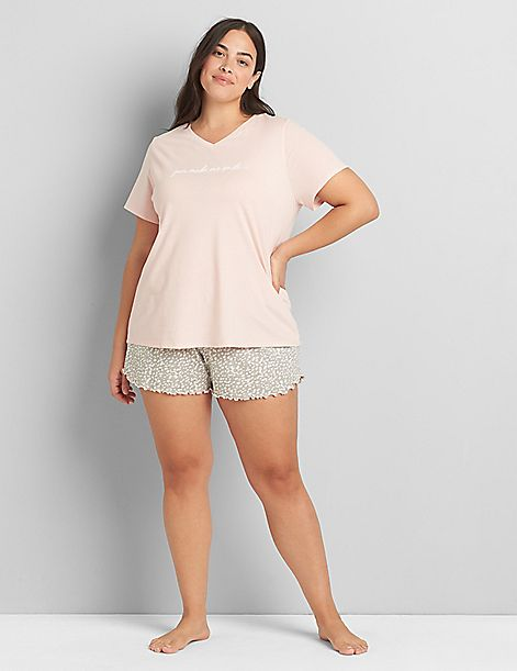 V-Neck Tee & Short PJ Set