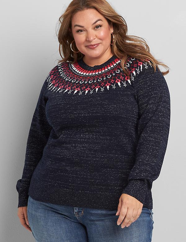 Fair Isle Yoke Sweater With Metallic Threading