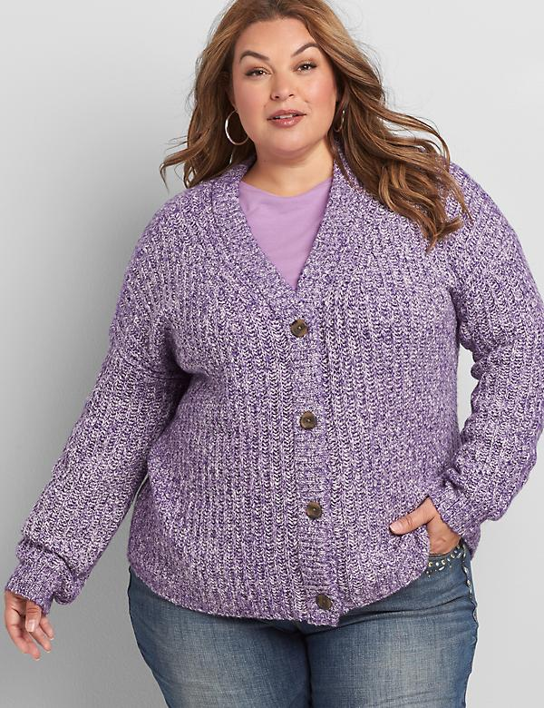 Button-Front Sweater Cardigan