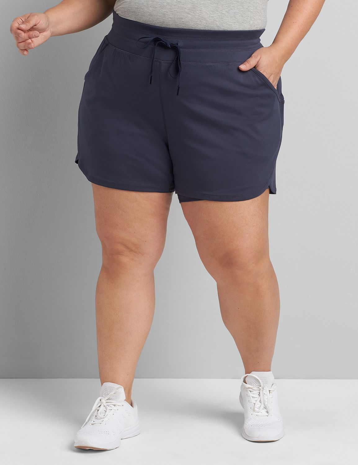 lane bryant women's livi double-layer short with wicking 14/16 blue nights