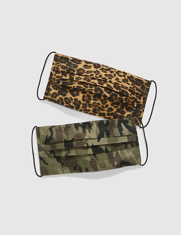 General Purpose Face Masks 2-Pack - Camo & Leopard Print