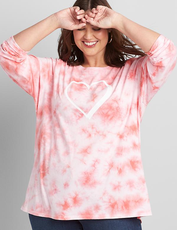 Tie-Dye Heart-Graphic Tee