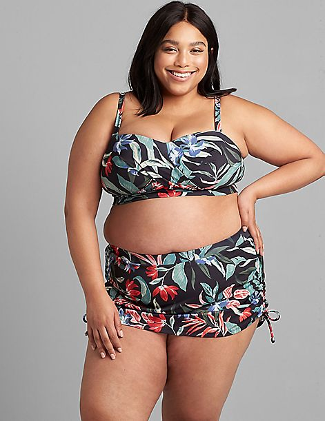 Faux-Wrap No-Wire Swim Bandeau Top