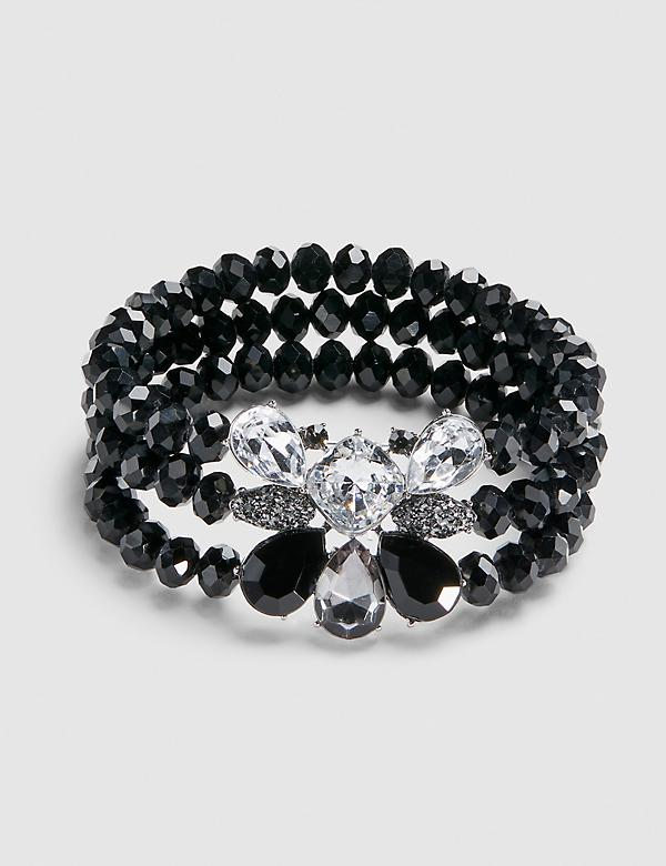 3-Row Beaded Stretch Bracelet - Black