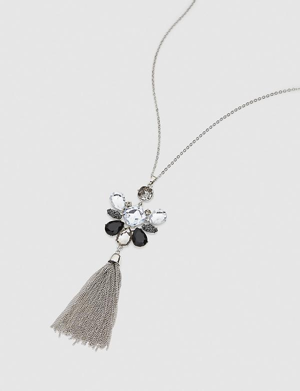 Faceted Stone Tassel Pendant Necklace