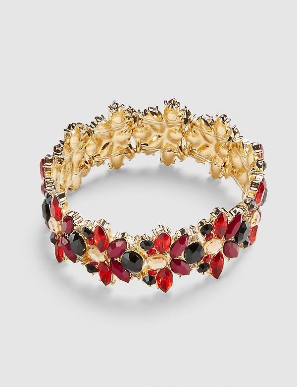 Floral Cluster Stretch Bracelet - Multi-Colored