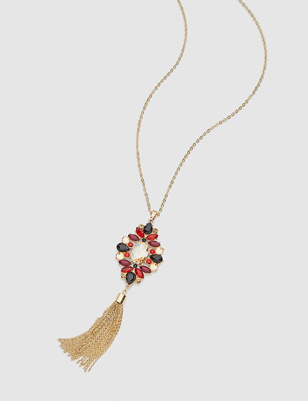 Faceted Stone Tassel Pendant Necklace - Multi-Colored