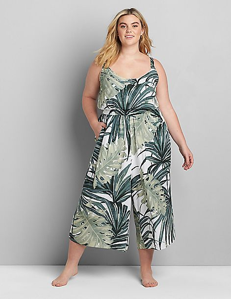 Printed Jumpsuit Cover-Up