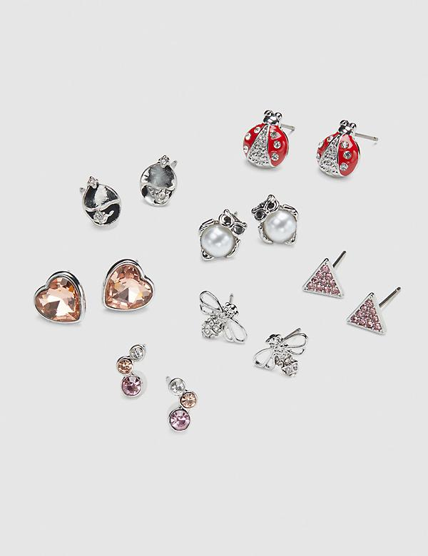 Stud Earrings - 7-Pack - Owl & Faceted Stones