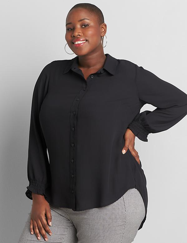 Shirred-Cuff Button-Front Soft Shirt
