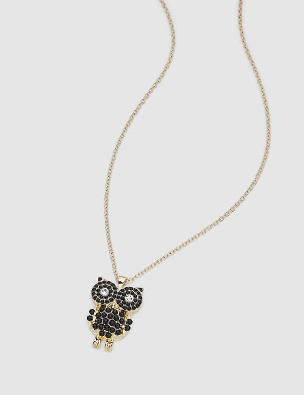 Pave-Embellished Owl Pendant Necklace