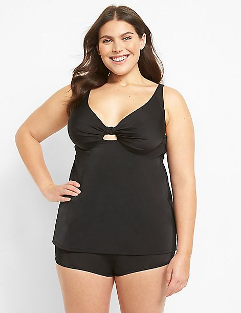 Relaxed Underwire Plunge Swim Tankini Top