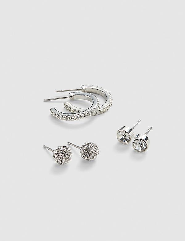 Stud & Hoop Earrings 3-Pack - Fireball & Pave Stones