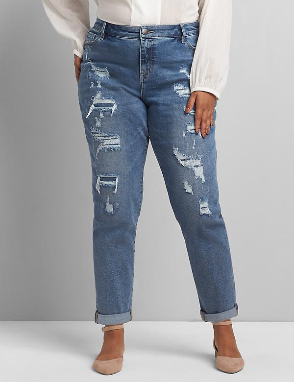 Signature Fit Boyfriend Jean - Ripped Medium Wash