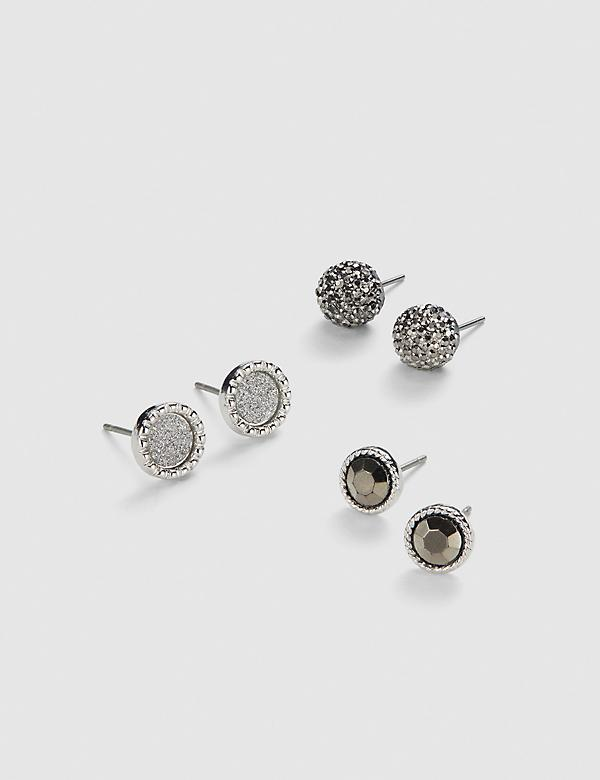 Stud Earrings 3-Pack - Fireball & Faceted Stone