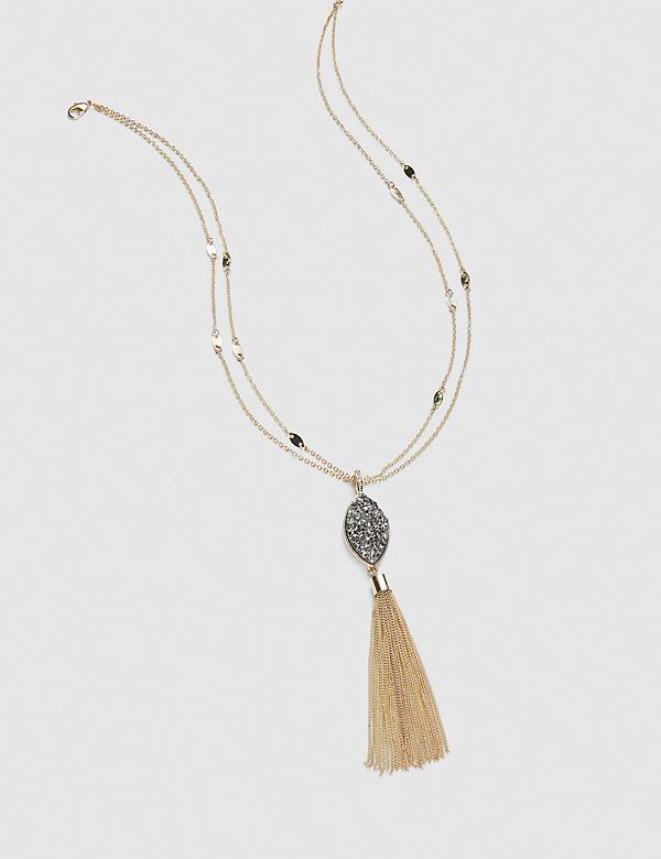 Faux Druzy Tassel Necklace