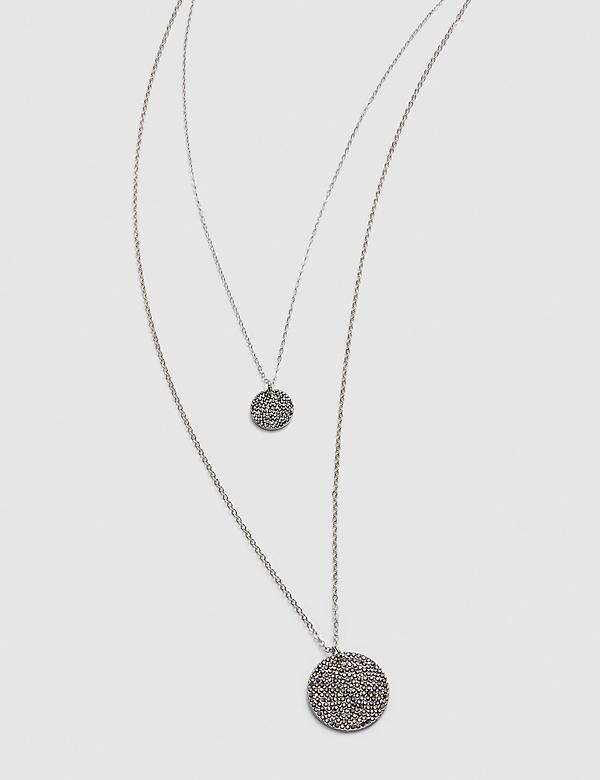 Pave-Embellished Double-Disc Pendant Necklace