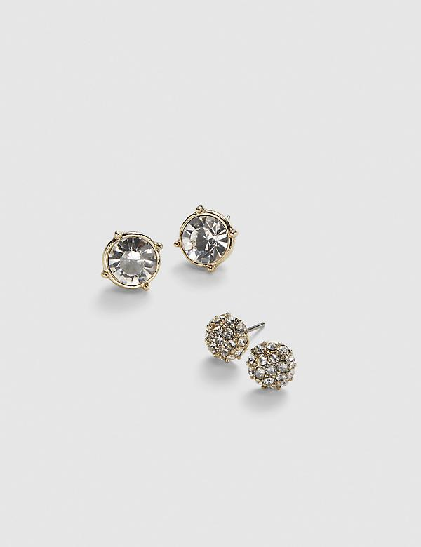 Stud Earrings 2-Pack - Fireball & Faceted Stone