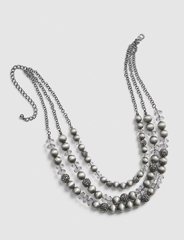 Multi-Layer Gray Pearlescent Necklace