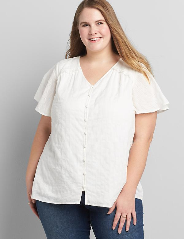 Flutter-Sleeve Button-Front Tee