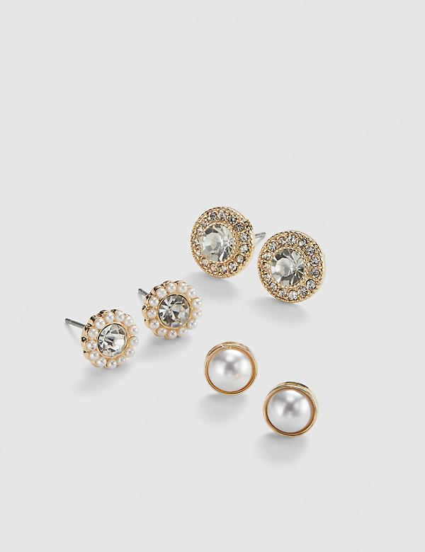 Stud Earrings 3-Pack - Pearlescent & Faceted Stone