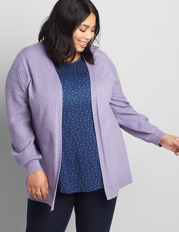Open-Front Textured-Sleeve Cardigan