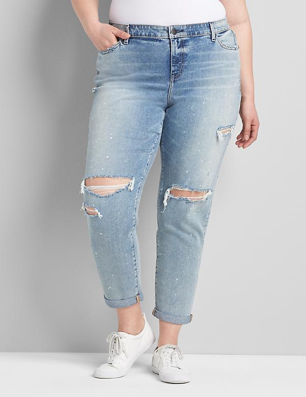 Signature Fit Boyfriend Jean - Ripped & Splattered