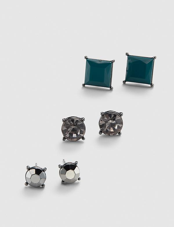 Stud Earrings 3-Pack - Faceted Stones